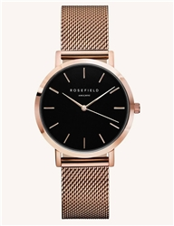 Rosefield The Tribeca Black Rose Gold 33mm