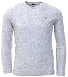 Grey Heather Long-Sleeve Organic Cotton T-Shirt by Tommy Jeans