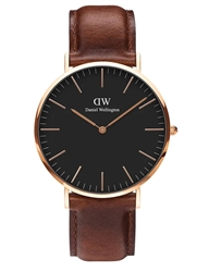 Daniel Wellington Black Rose Gold Classic St Mawes 40mm