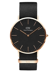 Daniel Wellington Black Rose Gold Classic Cornwall 40mm