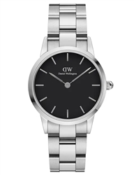 Daniel Wellington Silver Black Iconic Link 28mm