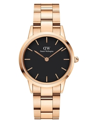 Daniel Wellington Rose Gold Black Iconic Link 32mm