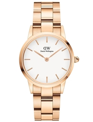 Daniel Wellington Rose Gold White Iconic Link 28mm