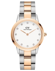 Daniel Wellington Silver Rose Gold Iconic Link Lumine 28mm
