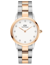 Daniel Wellington Silver Rose Gold Iconic Link Lumine 32mm