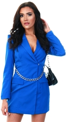 Saint Genies Blue Blaver Dress With Silver Chain