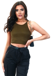 Saint Genies Khaki Cropped Ribbed Top