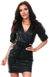 Only Black Coated Wrap Dress