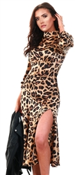Ax Paris Camel Leopard Print Silky High Neck Dress