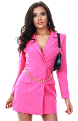 Saint Genies Pink Blazer Dress With Gold Chain