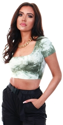 Saint Genies Khaki Tie Dye Cropped Top