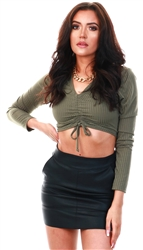 Vivichi Khaki Ribbed Crop Top