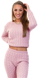 Rose Pink Long Sleeve Cable Knit Jumper by Vivichi