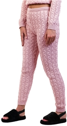 Rose Pink Cable Knit Leggins by Vivichi