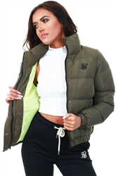 Khaki Contrast Lining Crop Jacket by Siksilk