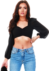 Saint Genies Black Long Sleeve Crop Top