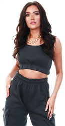 Vivichi Black Nabeel Fleeced Crop Top