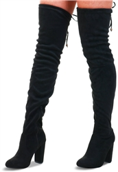 Krush Black Suede Thigh High Boot