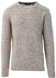 Kensington Ecru Grey Twist Crew Neck Knitted Jumper