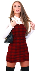 Cutie London Red Check Pinafore Dress