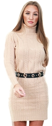 Brave Soul Light Camel Polo Neck Knit Jumper Dress