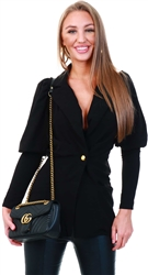 Black Puff Sleeve Blazer by Ax Paris