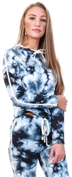 Black/White Tie Dye Hoodie by Cutie London