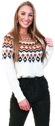 Only Beige / Beaver Fur Patterned Knitted Pullover