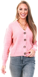Pink Knitted Cardigan by Brave Soul