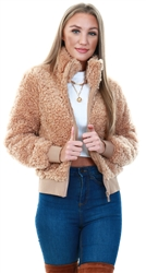 Only Brown / Cuban Sand Sherpa Bomber Jacket