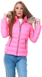 Tommy Jeans Glamour Pink Essential Down Filled Hooded Jacket