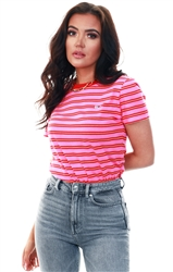 Pink Chest Logo Embroidery Stripe Ringer T-Shirt by Tommy Jeans