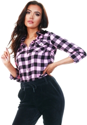 Noisy May Begonia Pink / Black Check Shirt
