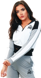 Kings Will Dream Black/White/Grey Ribbed Cropped Half Zip