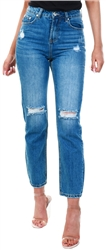 Kings Will Dream Light Wash Denim Ripped Mom Jean