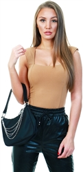 Ax Paris Camel Padded Shoulder Sleeveless Bodysuit