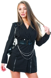 Saint Genies Black Pinstripe Belted Blazer Dress