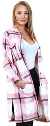 Vivichi Pink Longline Thick Colour Block Shacket