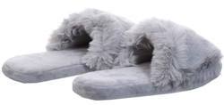 Krush Grey Faux Fur Fluffy Slider