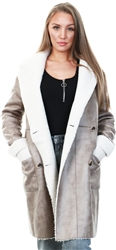 Vila Beige / Simply Taupe Faux Shearling Coat