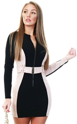 Saint Genies Black/Nude Panel Bodycon Zip Up Belted Dress