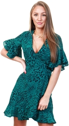 Ax Paris Teal Animal Print Wrap Frill Dress