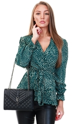 Ax Paris Green Spot Wrap Top