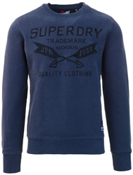 Superdry Lauren Navy Workwear Embroidered Crew Sweatshirt