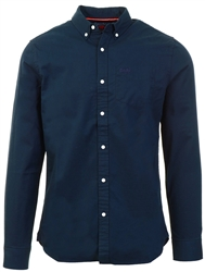 Superdry Nordic Chrome Navy Classic Twill Long Sleeved Shirt