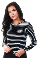 Black Stripe Orange Label Essential Long Sleeve Top by Superdry