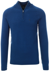 Rich Indigo Marl Half Zip Knitted Sweater by Holmes & Co
