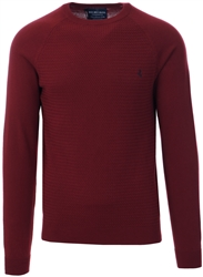 Holmes & Co Burgundy Round Neck Knitted Sweater