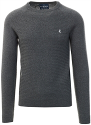 Charcoal Round Neck Knitted Sweater by Holmes & Co