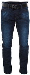 Dv8 Dark Wash Denim Straight Fit Jeans With Belt